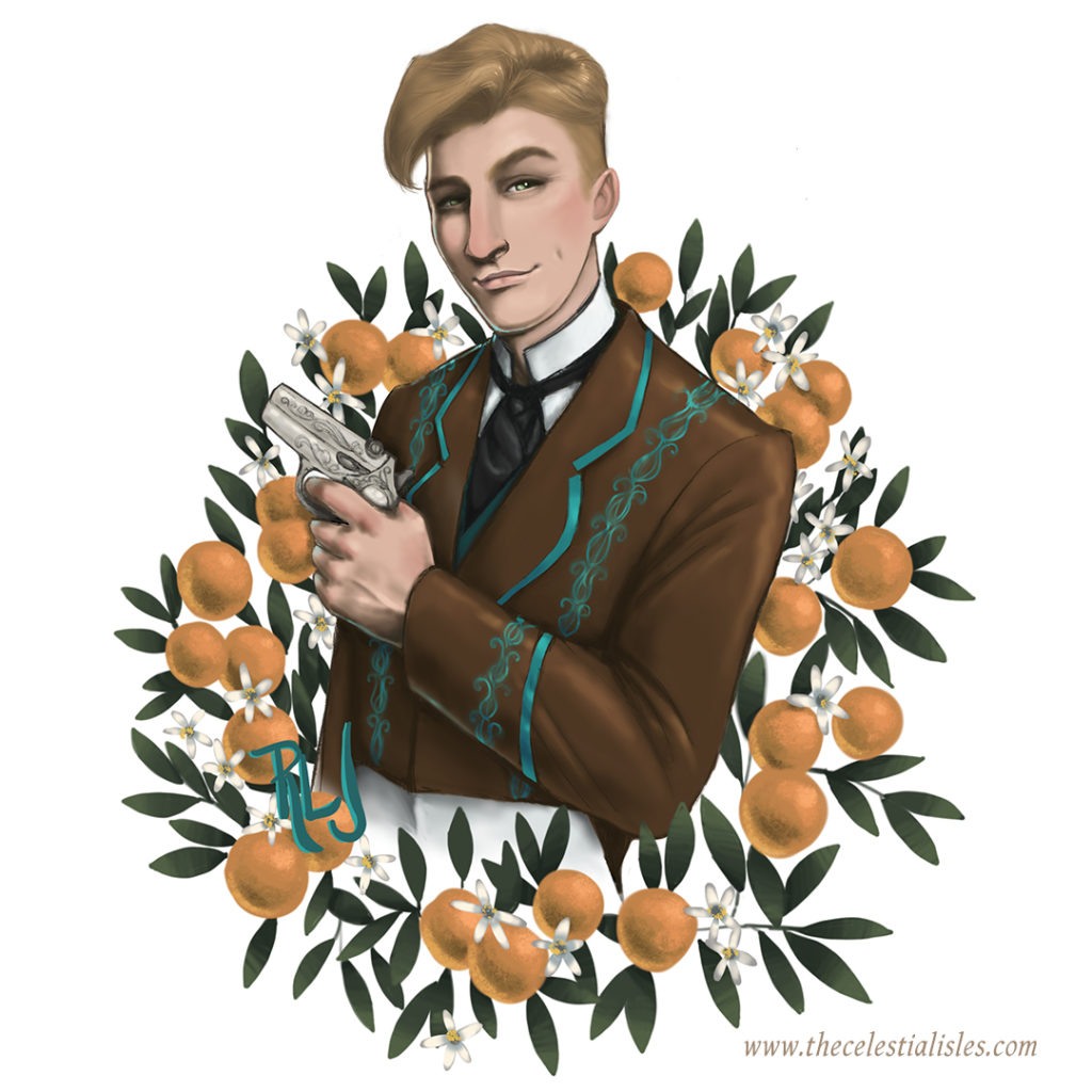 The Electrical Menagerie official character portrait - Arbrook Huxley holding derringer, with orange bough laurels
